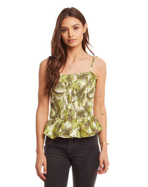 Beachy Linen Smocked Tie Strap Button Front Peplum Cami