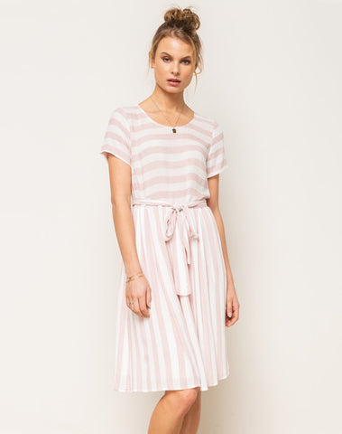 Belted Stripe Midi Dress