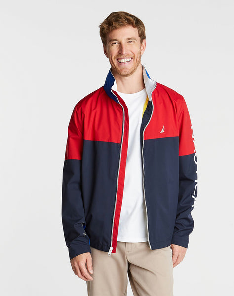 BIG & TALL LIGHTWEIGHT COLORBLOCK BOMBER WITH CONCEALED HOOD