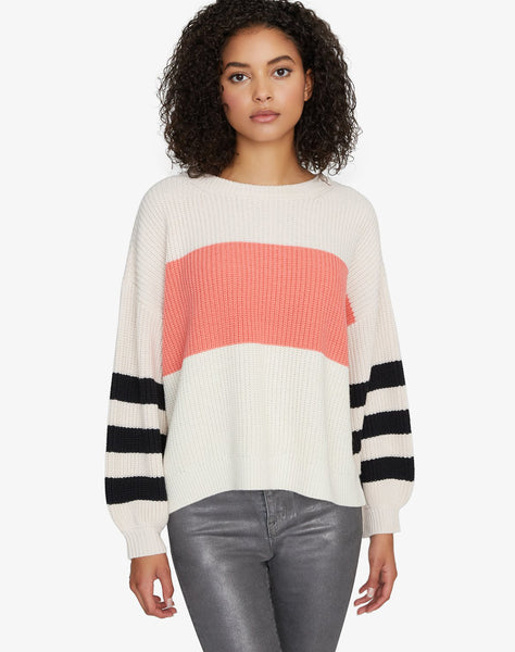Playful Striped Sweater Himalayan Salt/Winter Coral/Moonstone/Black