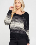 Black And Grey Cozy Pullover Sweater