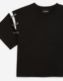 Black Cotton T-shirt With Rhinestones