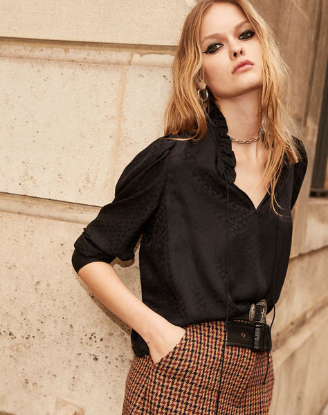 Black Silk Top With Lacing At Neck, Jacquard