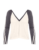 Blocked Jersey Long Sleeve V-Neck Raglan Track Tee