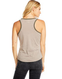 BLOCKED JERSEY SHIRTTAIL HENLEY RACERBACK TANK