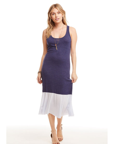 Blocked Jersey Skinny Racerback Midi Dress with Peplum Hem