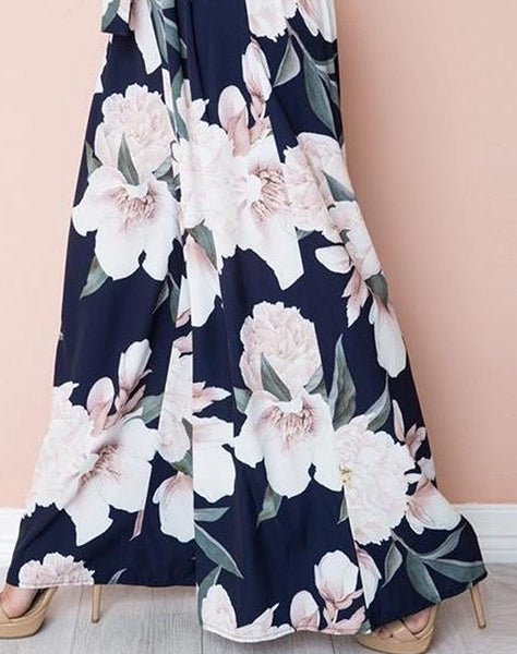 Blue Floral Print Wide Leg Casual Pants with Belt