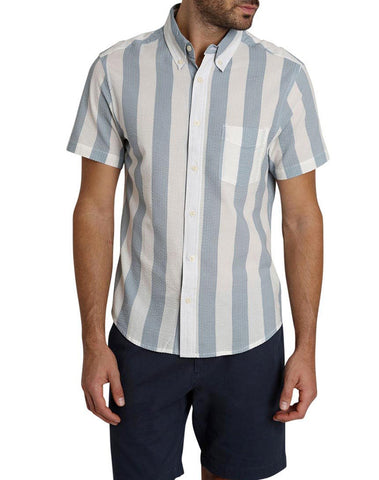 Bold Stripe Seersucker Short Sleeve Shirt