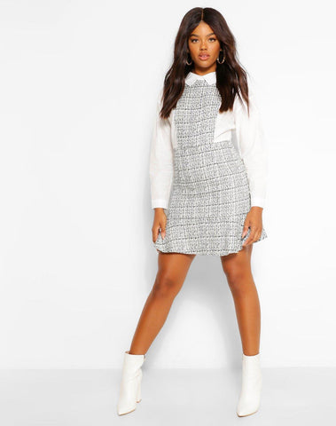 Boucle Drop Hem Shirt Dress