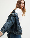 Boyfriend Trucker Jacket Russian Sky - Dark Wash