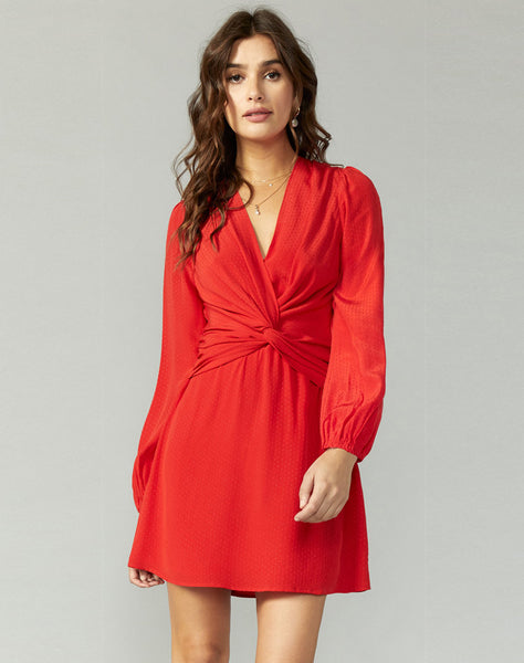 Brita Twist Front Dobby Crepe Dress