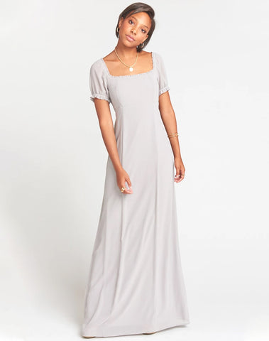 Brittany Maxi Dress ~ Dove Grey Chiffon