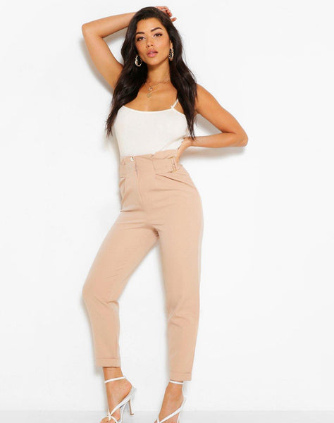 Buckle Waist Straight Leg Woven Trousers