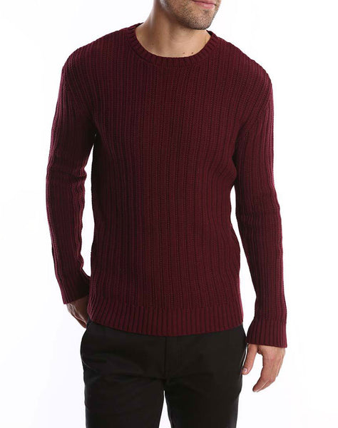 Burgundy Ribbed Crewneck Sweater