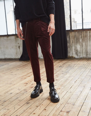 Burgundy ribbed velvet trousers