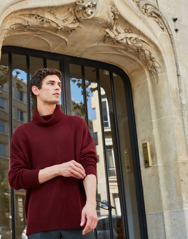 Burgundy Wool And Cashmere Turtleneck Jumper