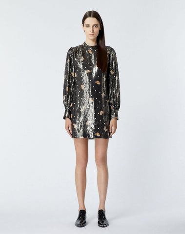 Short Silk Dress, Lamé, W/butterfly Motif