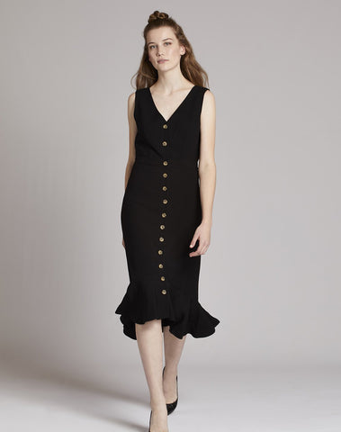 Button Front Midi Dress
