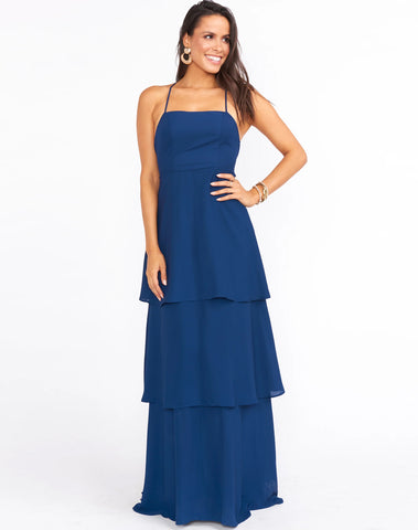 Calypso Ruffle Dress ~ Rich Navy Crisp