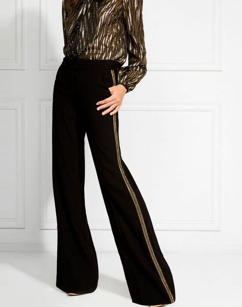 Canyon Gold Embroidered Wide-leg Trousers