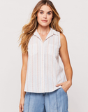 Carol White Paradise Stripe Sleeveless Button-Up Shirt