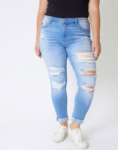 Carson Mid Rise Ankle Skinny Jeans - Plus
