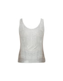 Cashmere Blend Racer Back Tank in Heather Grey