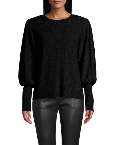 Cashmere Crew Neck Sweater With Padded Shoulder