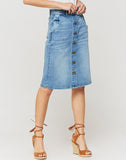 Cassia Buena Vista Button Front Denim Skirt