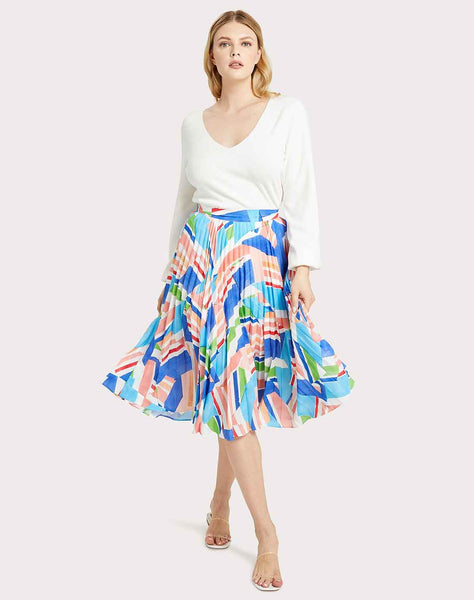 Celeste Nautical Print Pleated Skirt