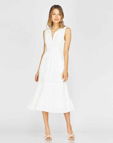Celine Fringe Trim Midi Dress