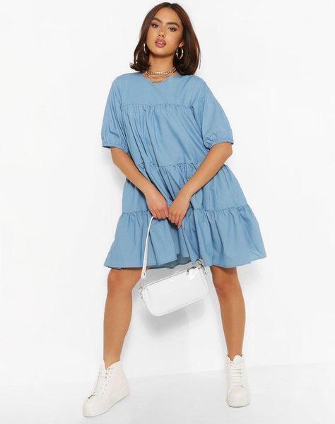 Chambray Tiered Smock Dress