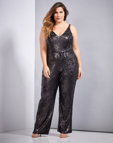 CHARLIE PLNG SPGHTTI STRAP SEQUIN JUMPSUIT