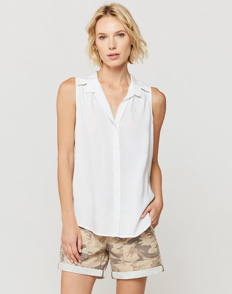 Cherilyn White Sleeveless Button-Up Top