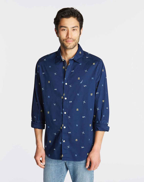 CLASSIC FIT OXFORD SHIRT IN NAVY PRINT