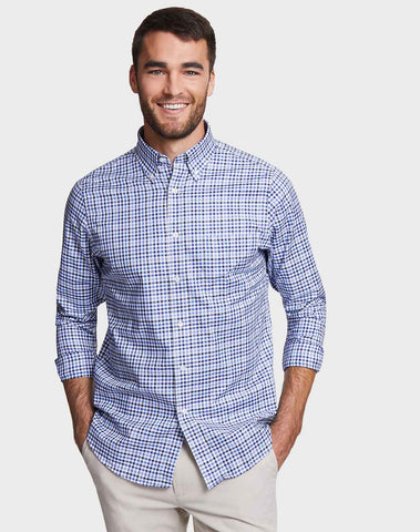 Classic Fit Shirt In Marine Blue Plaid