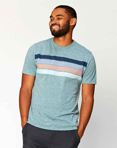Clean Four Stripe Crew Tee