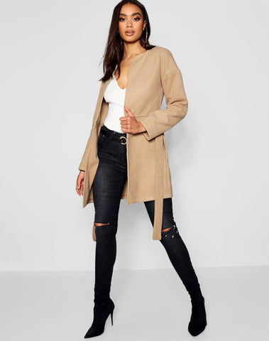 Collarless Belted Wool Look Coat