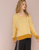 Color Block Mixed Media Oversize Pullover Top