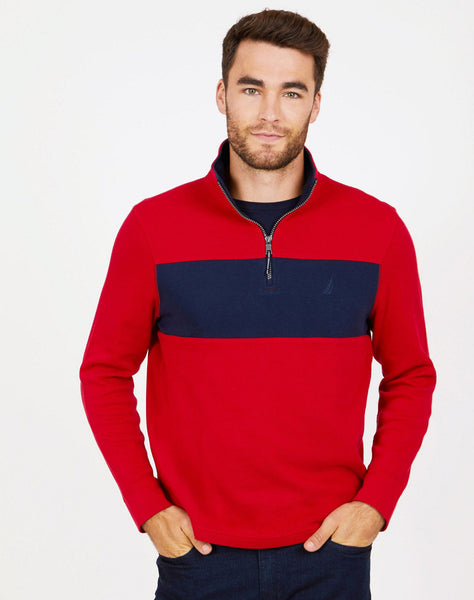 Colorblock Quarter-Zip Mock-Neck Active Top