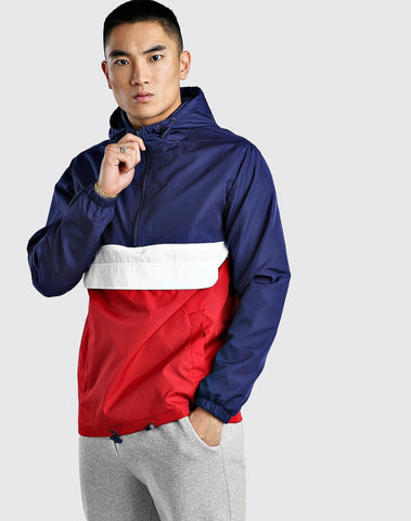 Colour Block Overhead Cagoule Front Pocket