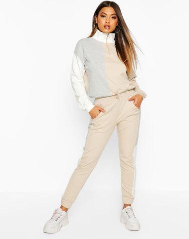 Colour Block Ruched Hem Crop Sweat And Jogger