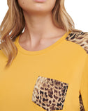 Contrast Animal Print Jersey Hi-Lo Top