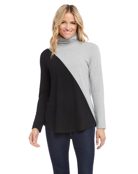 Contrast Turtleneck Sweater