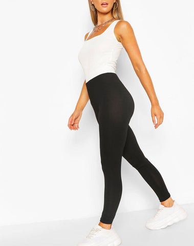 Contrast Waistband Basic Jersey Leggings