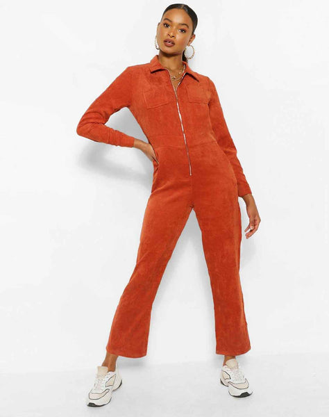 Cord Zip Through Boiler Jumpsuit
