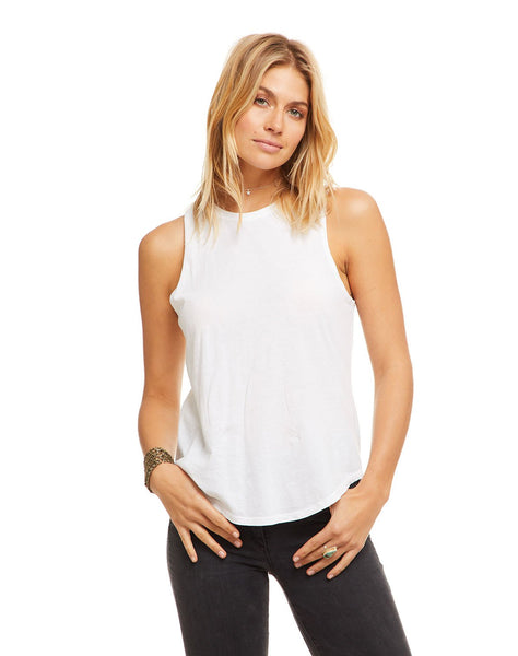 Cotton Basic Seamed Shirttail Muscle Tank