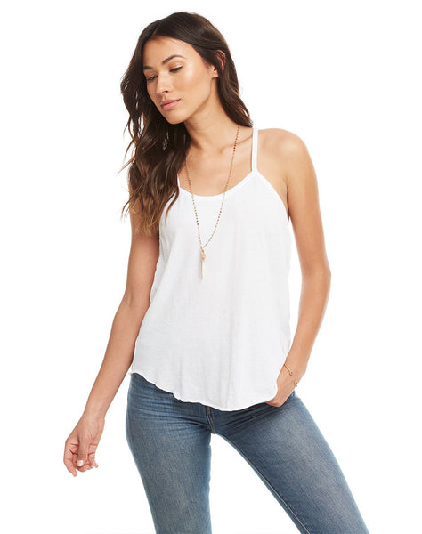 COTTON BASICS LAYERING SEAMED SHIRTTAIL RACER CAMI