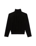Cowl Neck Velvet Fitted Black Top
