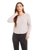 Cozy Knit Long Sleeve Hi Lo Shirttail Semi-cropped Pullover